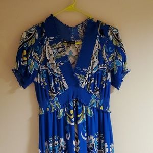 Valerie Bertinelli Blue/White?Lime Green Floral